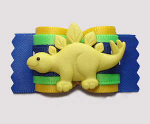 "#A7393- 7/8"" Dog Bow - Happy Dinosaur (Stegosaurus), Yellow/Blue"