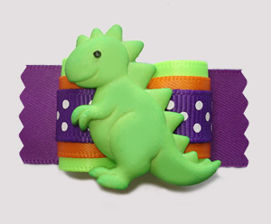 "#A7394- 7/8"" Dog Bow- Happy Dinosaur (Stegosaurus), Green/Purple"