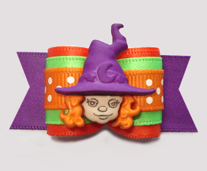 "#A7395 - 7/8"" Dog Bow - Adorable Happy Little Halloween Witch"