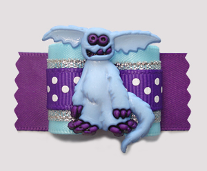 "#A7396- 7/8"" Dog Bow- Amazingly Cute Gremlin, Blue/Silver/Purple"