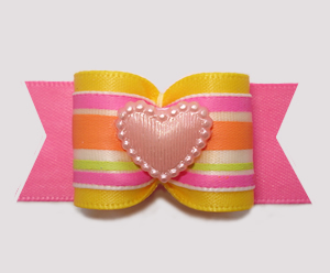 "#A7397 - 7/8"" Dog Bow - A Sweet Heart of a Bow, Pink"