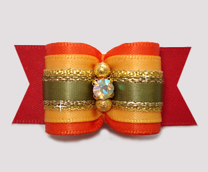 "#A7398 - 7/8"" Dog Bow - Autumn Glory, Red/Orange/Golden Yellow"