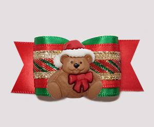 "#A7401 - 7/8"" Dog Bow - Classic Holidays, Christmas Teddy"