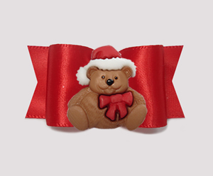 "#A7406- 7/8"" Dog Bow- Gorgeous Classic Rich Red, Christmas Teddy"