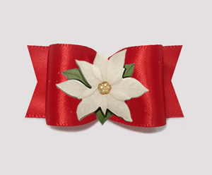 "#A7407 7/8"" Dog Bow- Gorgeous Classic Rich Red, Ivory Poinsettia"
