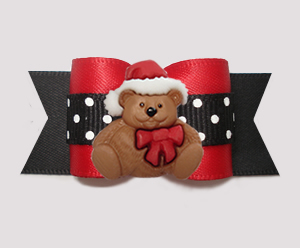 "#A7412 - 7/8"" Dog Bow - Red/Black Satin w/Dots, Christmas Teddy"