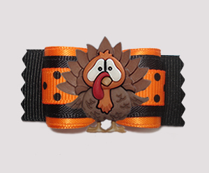 "#A7416 - 7/8"" Dog Bow - Thanksgiving Turkey, Orange/Black Dots"