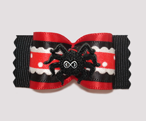 "#A7417 - 7/8"" Dog Bow - Itsy Bitsy Spider, Red/Black"