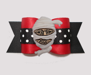 "#A7425 - 7/8"" Dog Bow - Hello, It's Mummy! Red/Black"