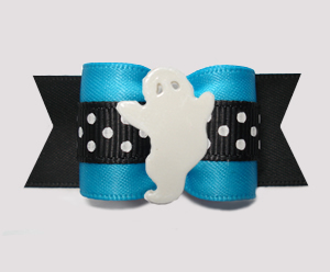 "#A7428 - 7/8"" Dog Bow - Boo-tiful Ghost, Blue/Midnight Black"