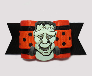 "#A7430 - 7/8"" Dog Bow - Frightening Frankenstein, Halloween Dot"