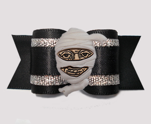"#A7432 - 7/8"" Dog Bow - Spooky Mummy, Midnight Black/Silver"