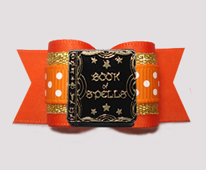 "#A7435 - 7/8"" Dog Bow - Vibrant Orange w/Gold, Book of Spells"