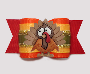 "#A7441- 7/8"" Dog Bow- Thanksgiving Turkey, Vibrant Autumn Colors"
