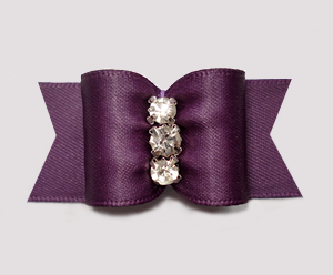 "#A7446 - 7/8"" Dog Bow - Awesome Amethyst Satin, Rhinestones"