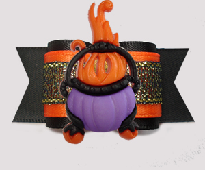 "#A7451- 7/8"" Dog Bow - Orange/Midnight Shimmer, Flaming Cauldron"