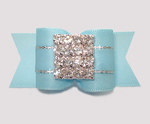 "#A7452 - 7/8"" Dog Bow - Gorgeous Ice Blue Satin, Rhinestone Pave"