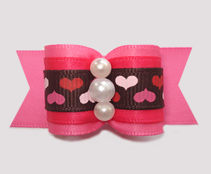 "#A7454 - 7/8"" Dog Bow - Whole Lotta Love Hearts, Pink Satin"