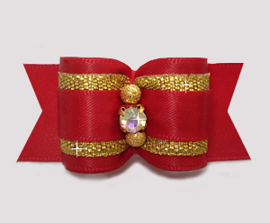 "#A7456 - 7/8"" Dog Bow - Classic Red Satin w/Gold, AB Rhinestone"