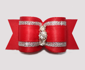 "#A7457 - 7/8"" Dog Bow - Classic Red Satin w/Silver, Rhinestones"