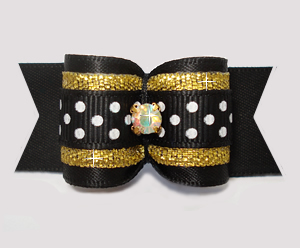 "#A7459 - 7/8"" Dog Bow- Black/Gold with Sparkle & Sprinkle Dots"