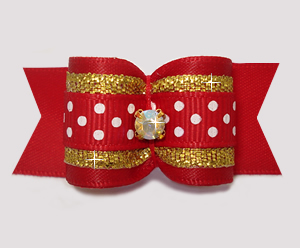 "#A7460 - 7/8"" Dog Bow- Red/Gold with Sparkle & Sprinkle Dots"