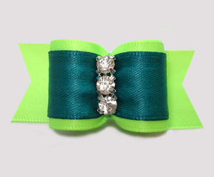 "#A7461 - 7/8"" Dog Bow - Vibrant Lime/Teal, Triple Rhinestones"