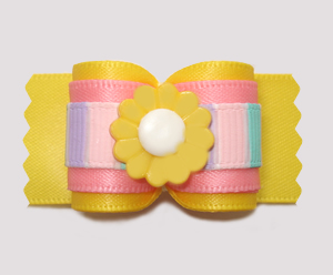 "#A7463 - 7/8"" Dog Bow - Sunny Yellow/Pastel Stripes with Daisy"