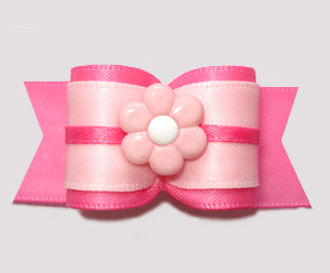 "#A7464 - 7/8"" Dog Bow - Think Pink! Pretty Pinks with Pink Daisy"