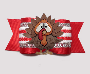 "#A7468 - 7/8"" Dog Bow - Christmas Turkey, Candy Cane Stripes"
