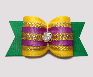 "#A7470 - 7/8"" Dog Bow - Mardi Gras Sparkle"