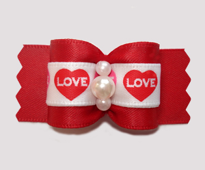 "#A7471 - 7/8"" Dog Bow - Love Hearts, Classic Red"