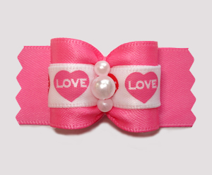 "#A7472 - 7/8"" Dog Bow - Love Hearts, Pretty Pink"