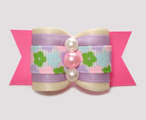 "#A7473 - 7/8"" Dog Bow - Sweet Spring Floral, Cream/Lavender/Pink"