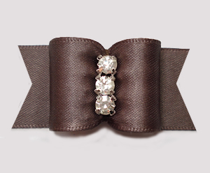 "#A7475 - 7/8"" Dog Bow - Chocolate Chip Brown Satin, Rhinestones"