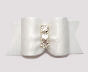 "#A7477 - 7/8"" Dog Bow - Angelic Classic White Satin, Rhinestones"