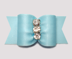 "#A7478 - 7/8"" Dog Bow - Perfect Powder Blue Satin, Rhinestones"