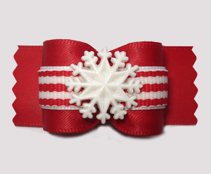 "#A7482 - 7/8"" Dog Bow - Winter Red/White Stripes, Snowflake"