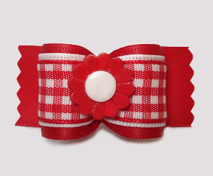 "#A7488 - 7/8"" Dog Bow - Pretty Spring Daisy, Red/White Gingham"