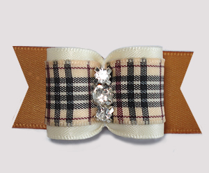 "#A7489 - 7/8"" Dog Bow- Classic Designer Plaid, Cream/Old Gold"