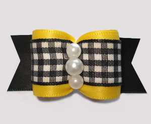 "#A7490 - 7/8"" Dog Bow - Bumblebee Yellow, Black/White Gingham"