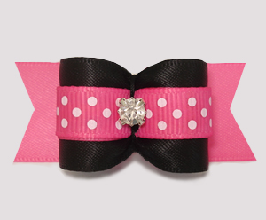 "#A7491 - 7/8"" Dog Bow - Bold Black/Pink Satin w/Dots, Rhinestone"