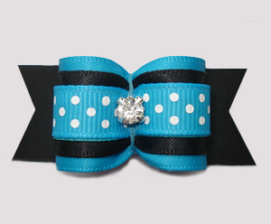 "#A7493 - 7/8"" Dog Bow - Bold Blue/Black w/Dots, Rhinestone"