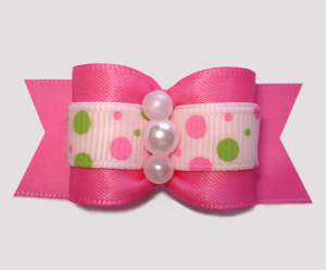"#A7497 - 7/8"" Dog Bow - Pretty Pink with Lime/Pink Bubble Dots"