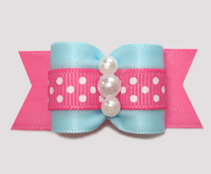 "#A7498 - 7/8"" Dog Bow - Sweet Cotton Candy Blue & Pink"