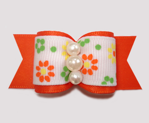 "#A7499 - 7/8"" Dog Bow - Pretty Flower Garden, Vibrant Orange"