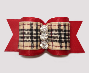 "#A7503 - 7/8"" Dog Bow- Gorgeous Classic Designer Plaid on Red"