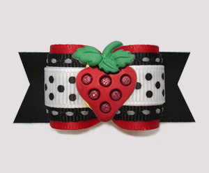 "#A7508 - 7/8"" Dog Bow - Bling Strawberry, Red/Black/White"