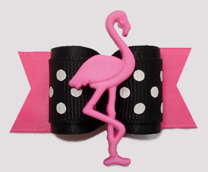 "#A7515 - 7/8"" Dog Bow - Flamingo Flair, Black/White/Pink"