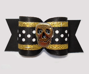 "#A7517 - 7/8"" Dog Bow - Midnight Black/Gold with Bronze Skull"